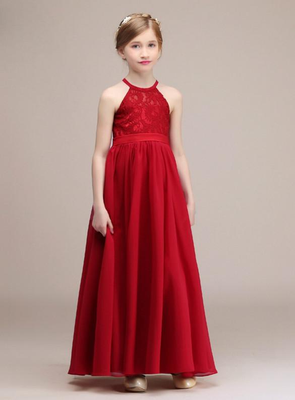 Red Chiffon Halter Backless Flower Girl Dress
