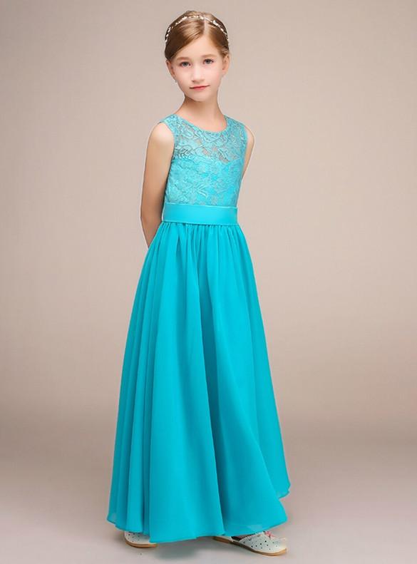 A-Line Blue Chiffon Lace Flower Girl Dress
