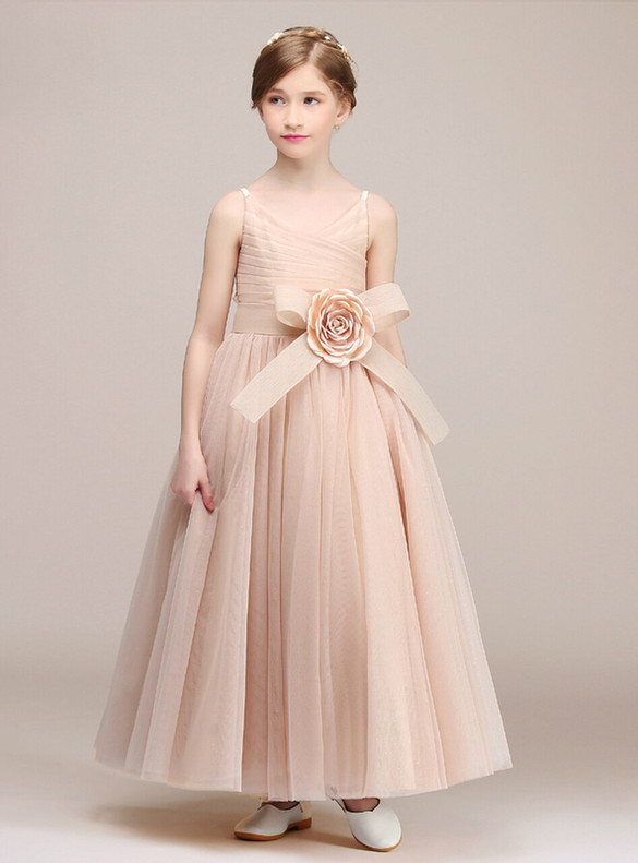 Meat Pink Tulle V-neck Pleats Flower Girl Dress