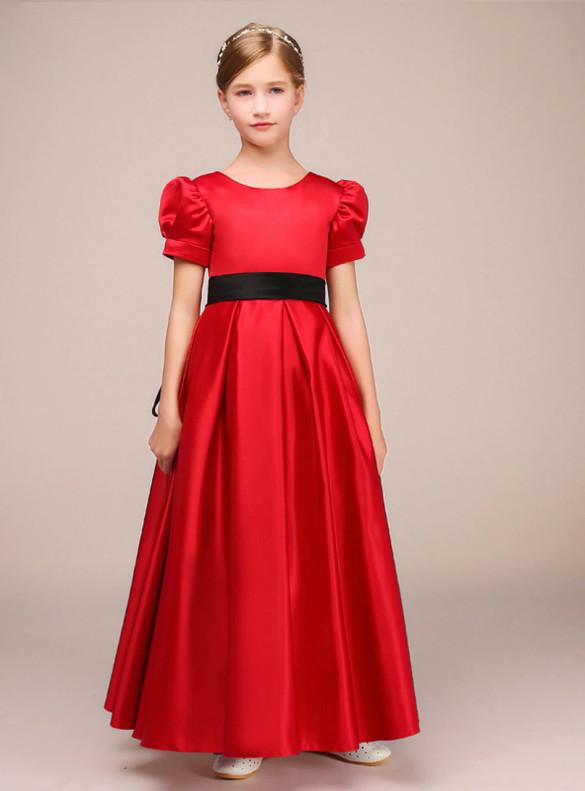 Red Satin Short Sleeve Flower Girl Dress With Belt