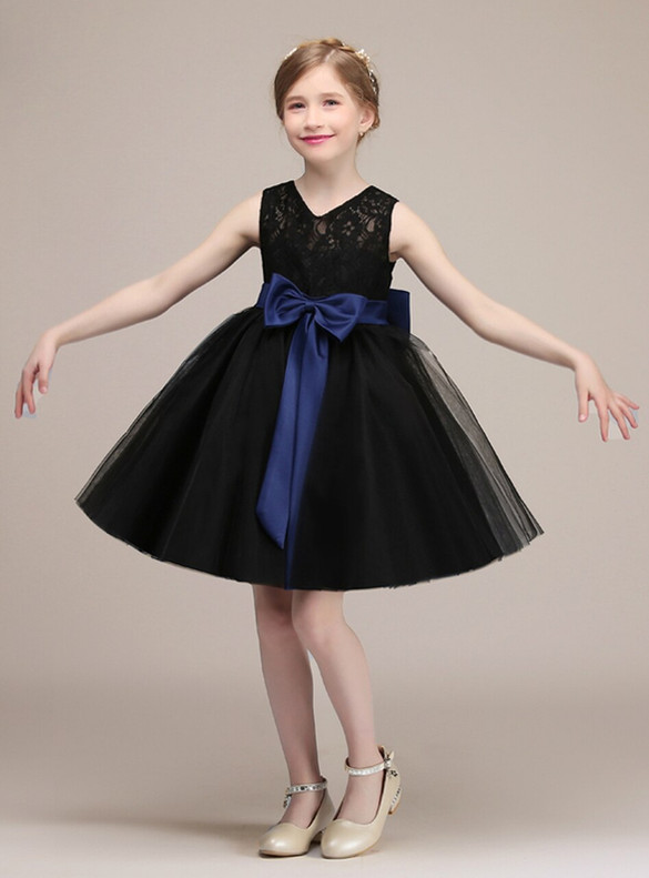 Black Tulle Lace Backless Flower Girl Dress With Bow