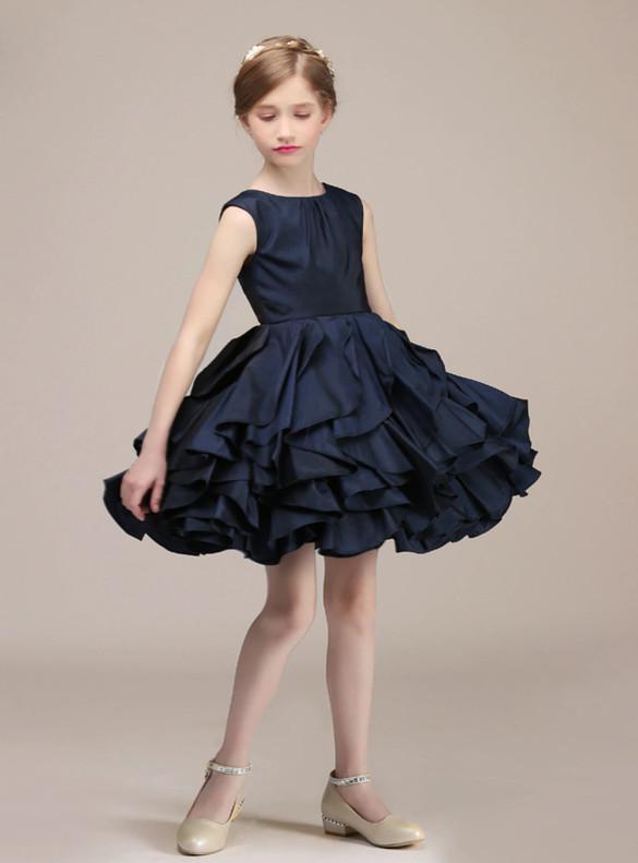 Navy Blue Satin Short Flower Girl Dress
