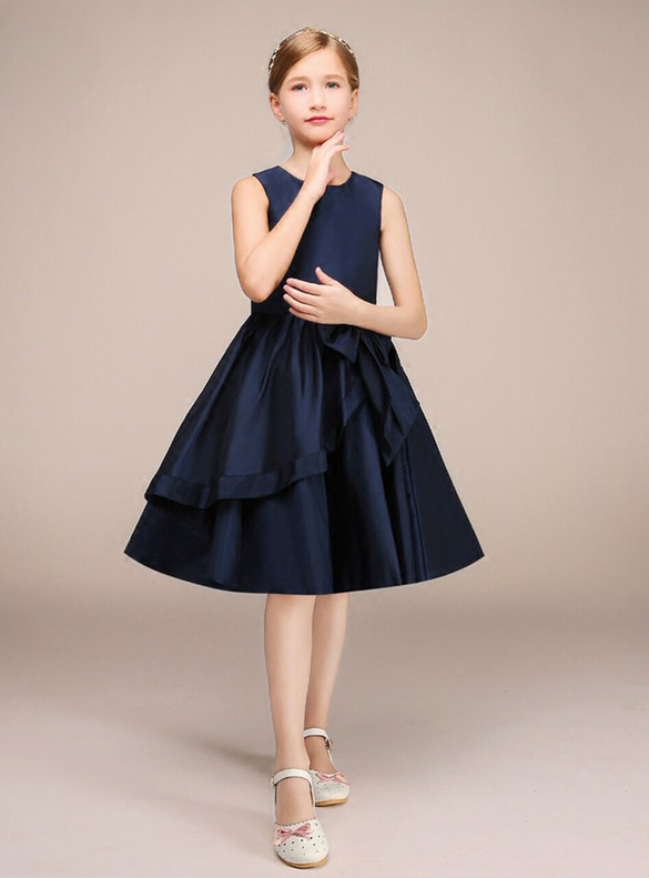 Simple Navy Blue Satin Flower Girl Dress With Bow