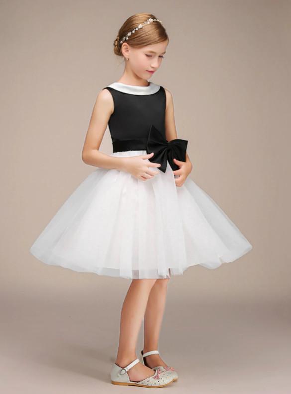 Black Satin White Tulle Flower Girl Dress With Bow