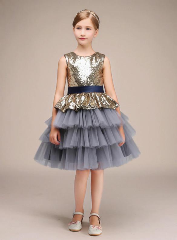 Gold Sequins Gray Tulle Flower Girl Dress