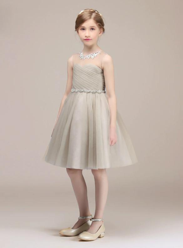 Gray Tulle Pleats Beading Flower Girl Dress