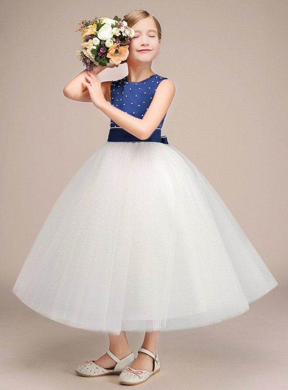 White Tulle Blue Satin Pearls Flower Girl Dress