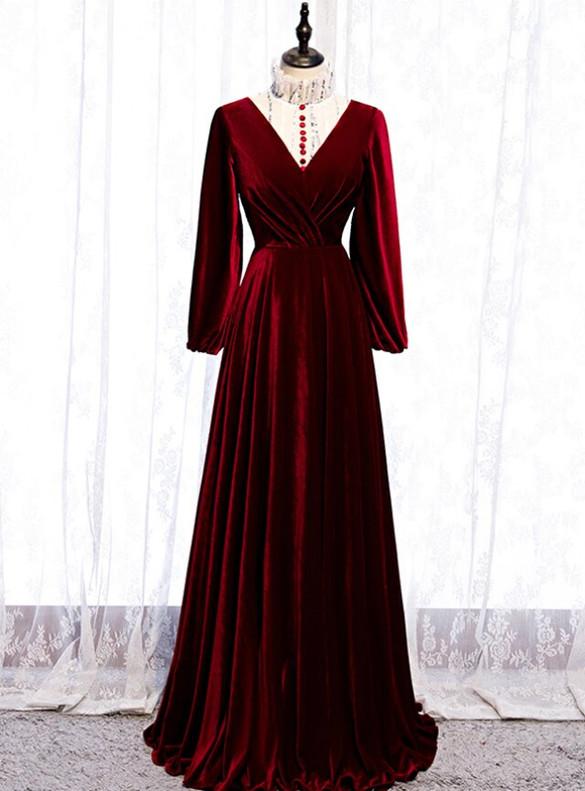 Burgund Velvet Long Sleeve Pleats Button Prom Dress
