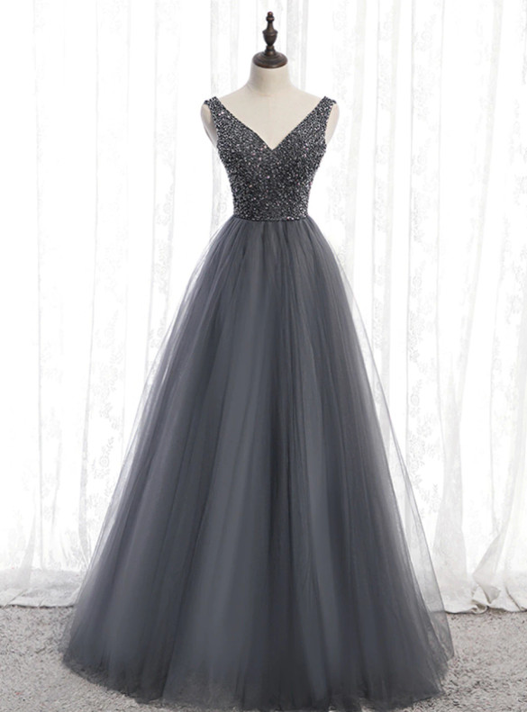 Dark Gray Tulle V-neck Beading Prom Dress