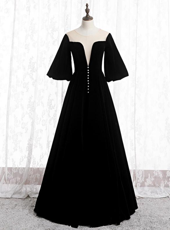 Black Velvet Horn Sleeve Prom Dress