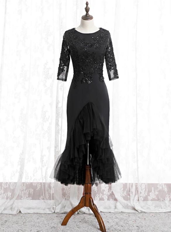 Black Mermaid Short Sleeve Appliques Beading prom Dress