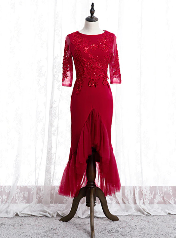 Burgundy Mermaid Short Sleeve Appliques Beading prom Dress