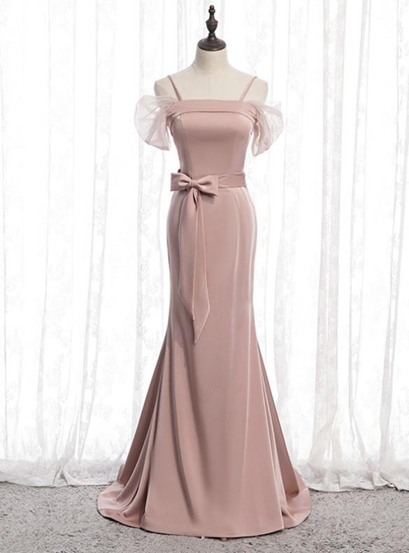 Pink Mermaid Satin Spagehtti Straps Prom Dress