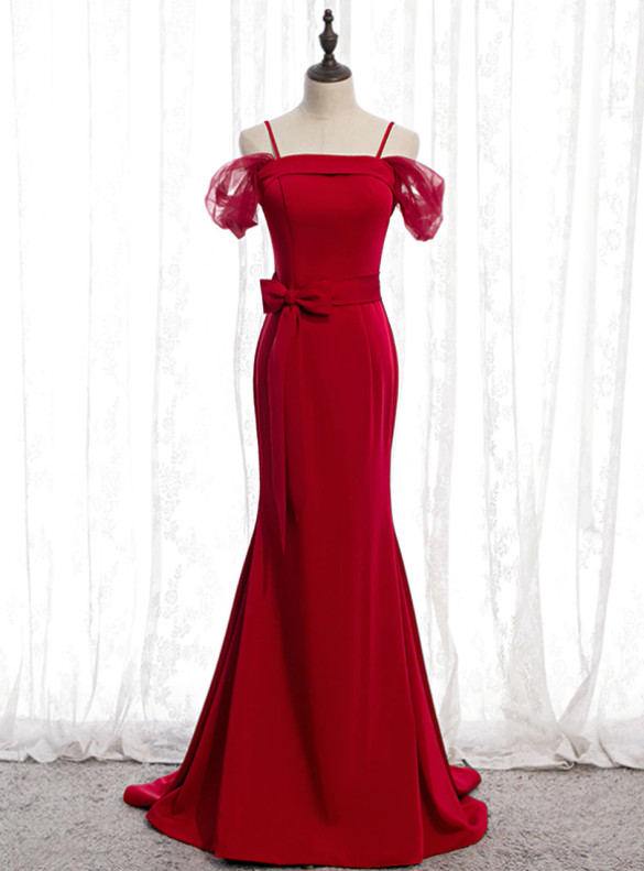 Burgundy Mermaid Satin Spagehtti Straps Prom Dress