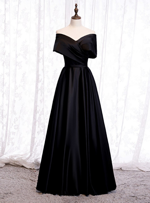 Black Satin Off the Shoulder Pleats Prom Dress