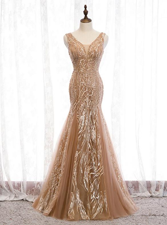 Champagne Mermaid V-neck Tulle Beading Prom Dress