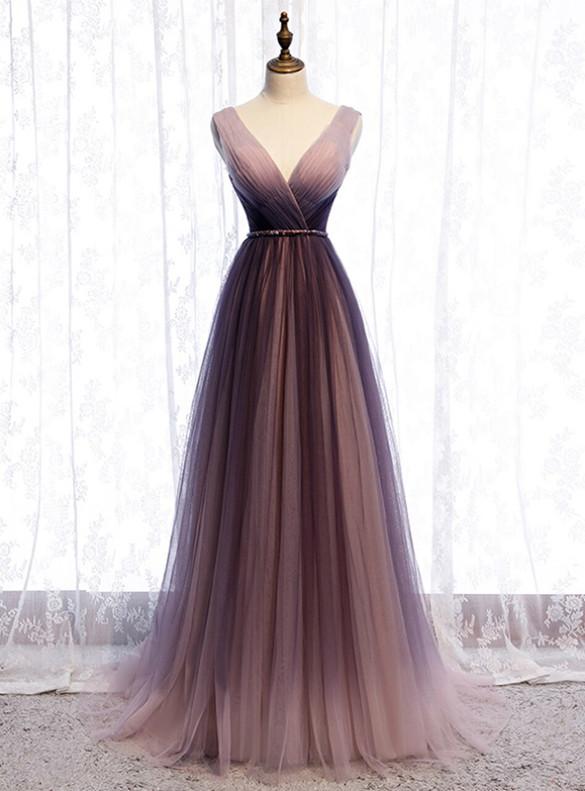 Purple Tulle V-neck Pleats Beading Prom Dress