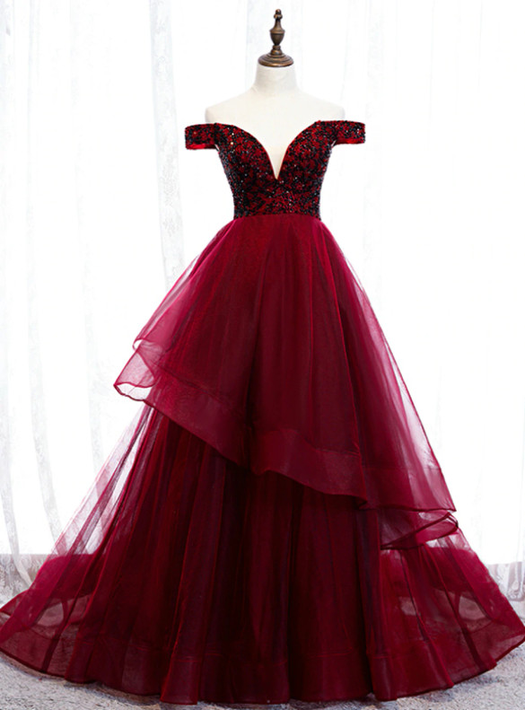 Burgundy Beading Off the Shoulder Prom Dress