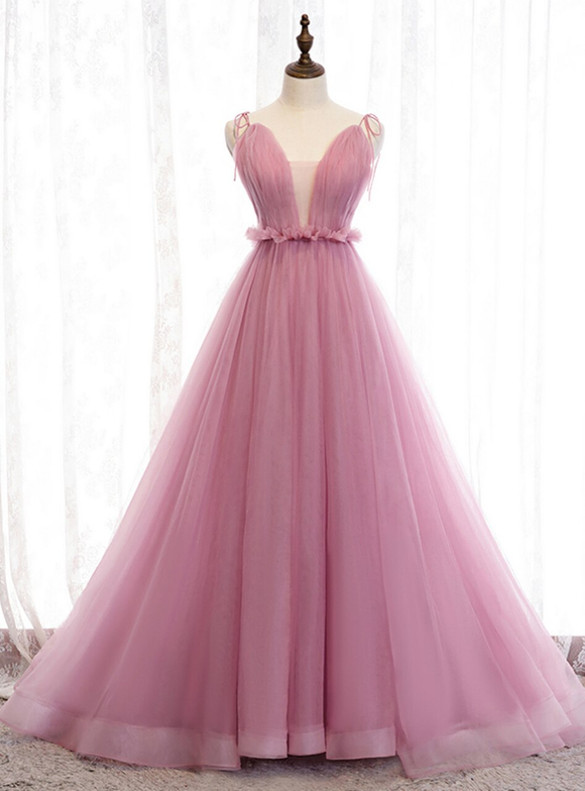 Pink Tulle Pleats Deep Neck Prom Dress