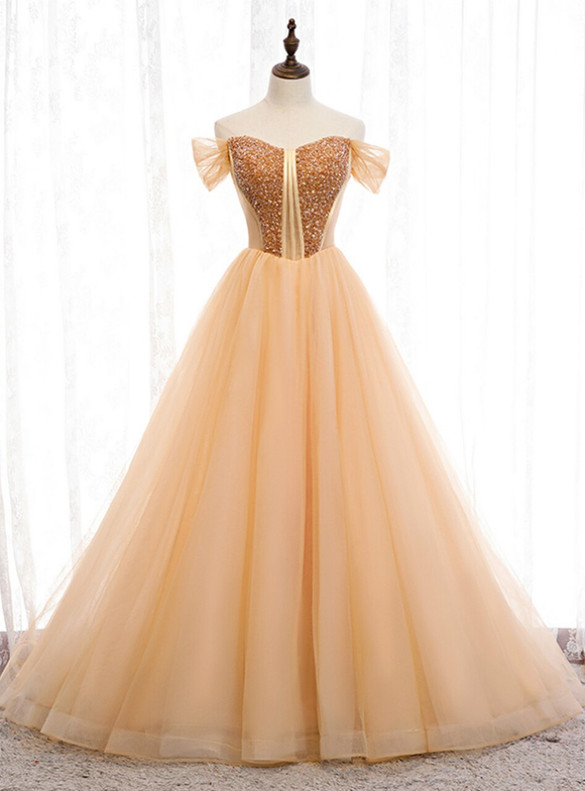 Sexy Gold Tulle  Beading Long Prom Dress