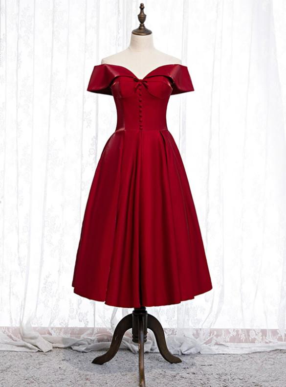 Burgundy Satin Off the Shoulder Button Short Prom Dress