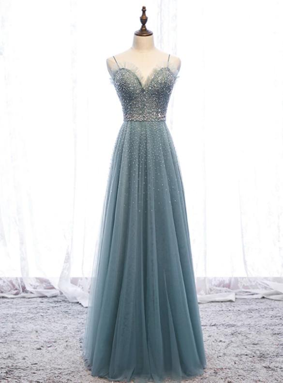 Spaghetti Straps Blue Tulle Beading Prom Dress