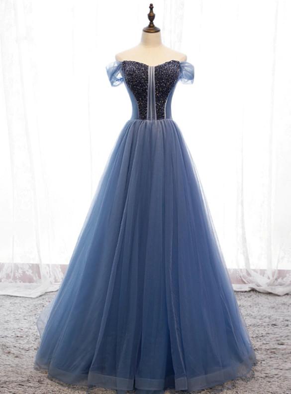 Blue Tulle Beading Long Prom Dress