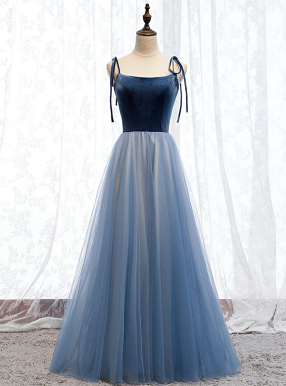 Blue Tulle Spaghetti Straps Backless Porm Dress