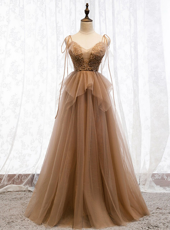 Champagne Tulle Beading Spaghetti Straps Prom Dress