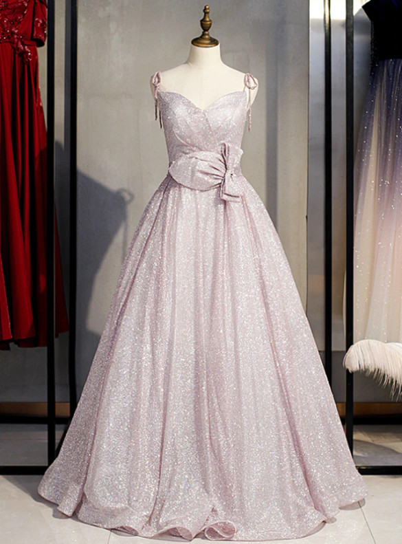Pink Sequins Spaghetti Straps Prom Dress With Bow