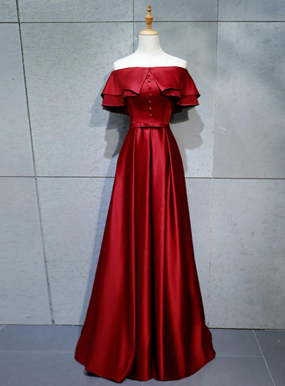 Burgundy Satin Button Off the Shoulder Prom Dress