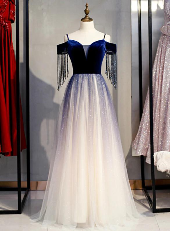 Navy Blue Velvet Tulle Spagehtti Straps Beading Prom Dress