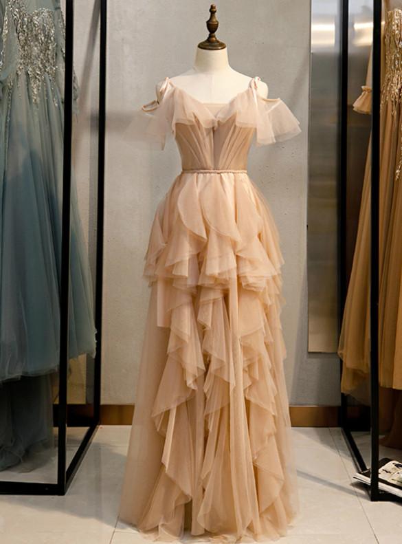 Champagne Tulle Spaghetti Straps Pleats Prom Dress