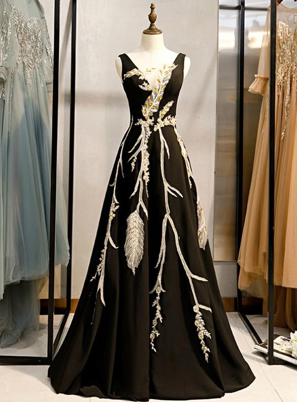 Black Satin Sequins Appliques Prom Dress