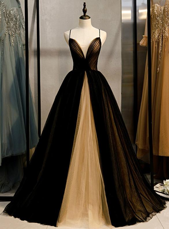 Black Champagne Tulle Pleats V-neck Prom Dress