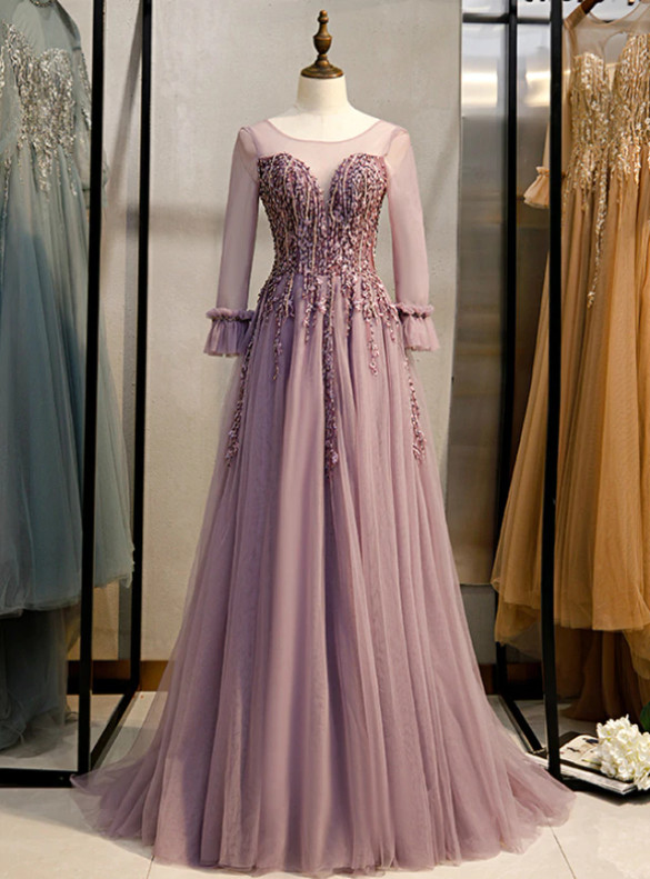 Pink Tulle Long Sleeve Beading Prom Dress