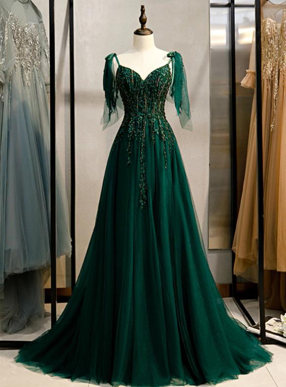 Dark Green Tulle Beading V-neck Prom Dress