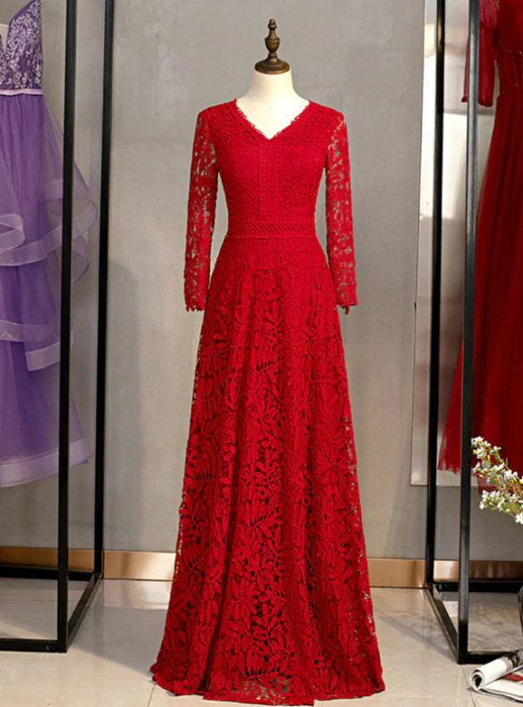 Burgundy Lace Long SLeeve V-neck Prom Dress