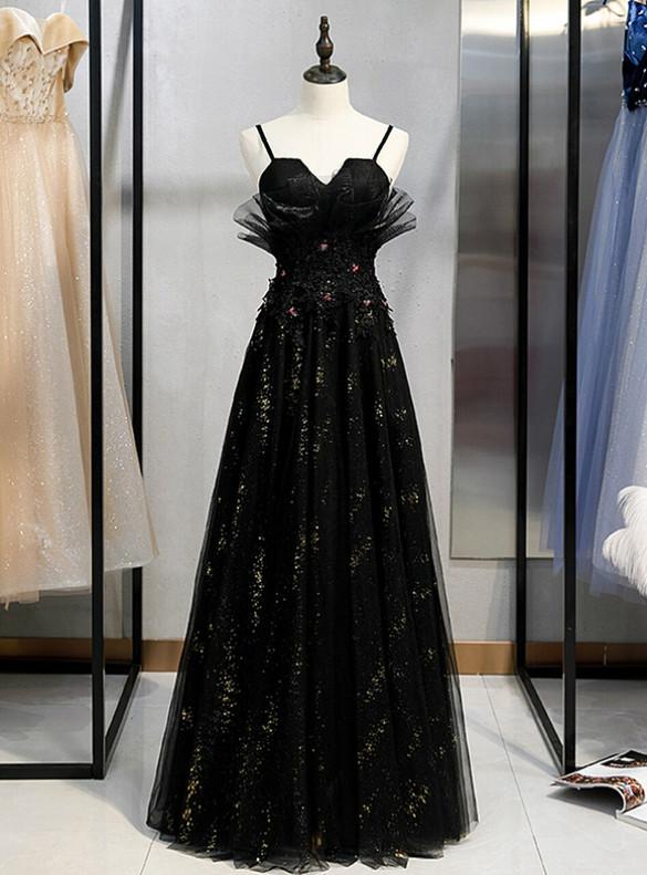 Black Tulle Appliques Spaghetti Straps Prom Dress