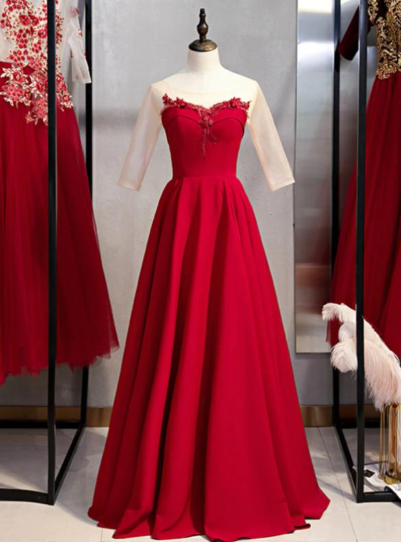 Burgundy Satin Appliques Short Sleeve Prom Dress