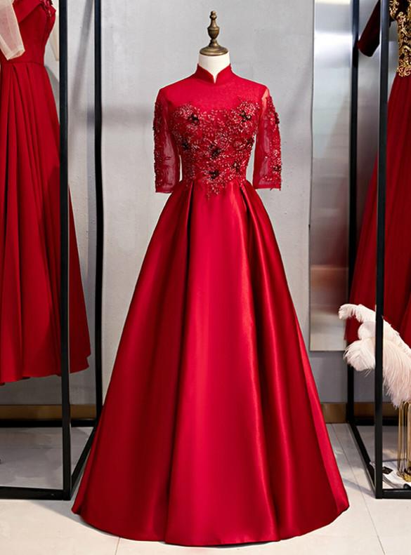 Burgundy Satin Short Sleeve Appliques Prom Dress