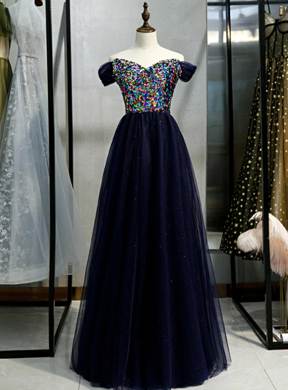 Navy Blue Tulle Sequins Long Prom Dress