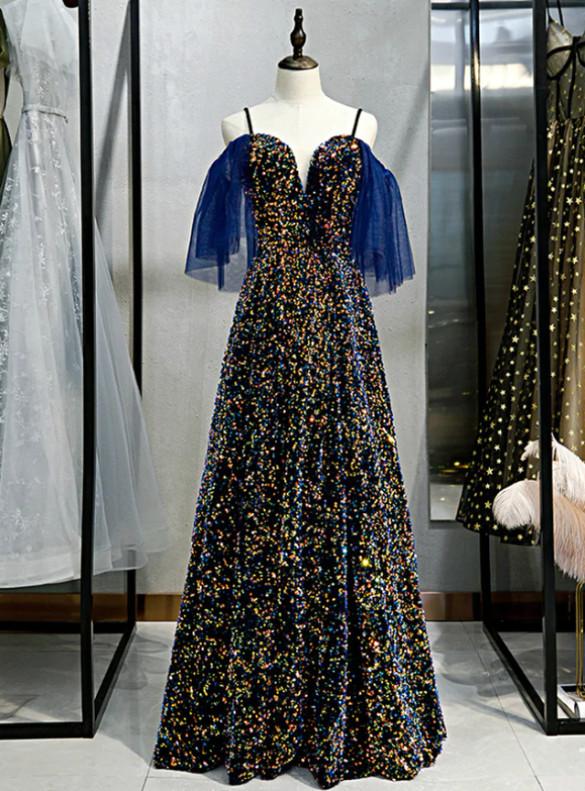 Navy Blue Spaghetti Straps Sequins Prom Dress