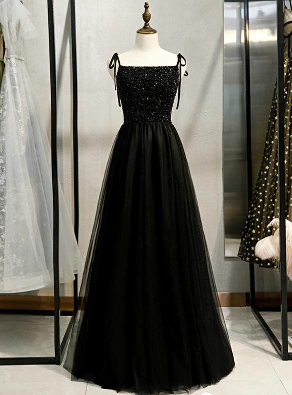 Black Tulle Beading Spaghetti Straps Prom Dress