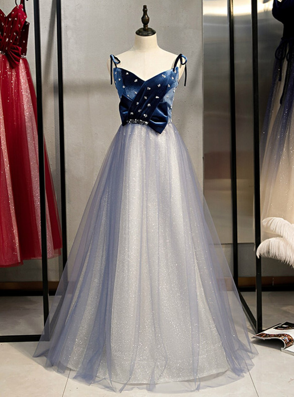 Blue Tulle Sequins Spaghetti Straps Prom Dress