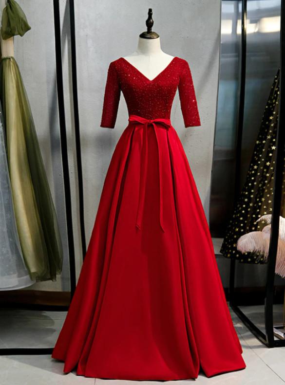 Burgundy Satin Beading V-neck Prom Dress