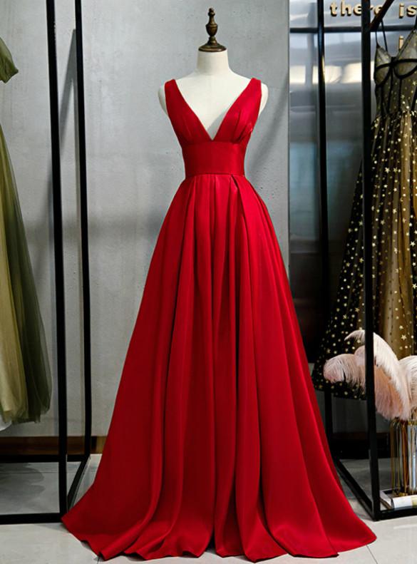 Burgundy Deep V-neck Backless Prom Dress