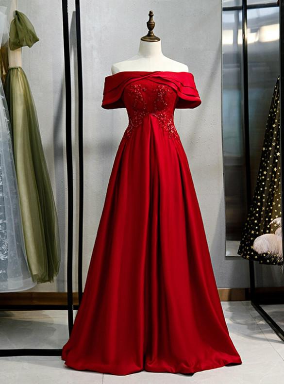 Burgundy Satin Lace Beading Prom Dress