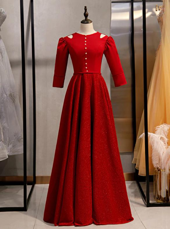Burgundy Satin Short Sleeve Prom Dress
