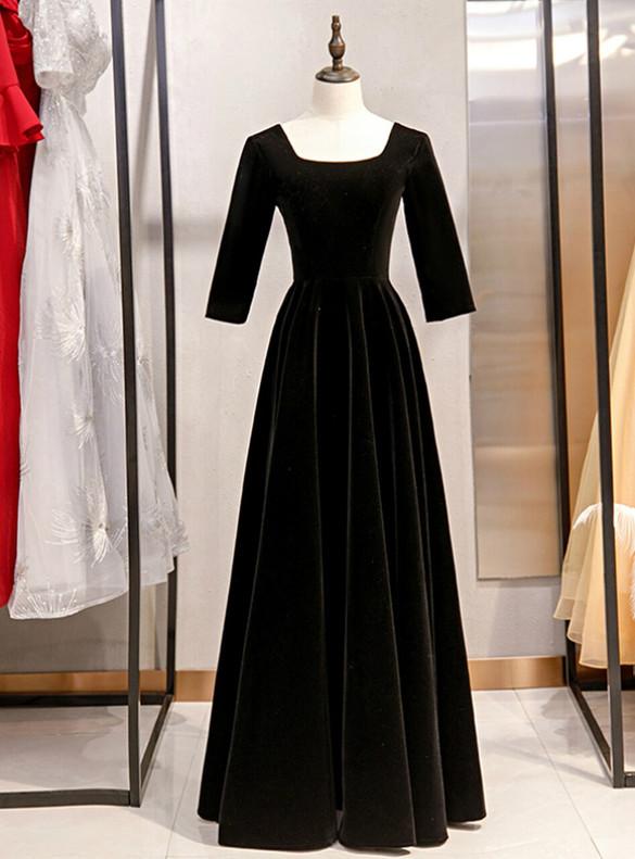 Black Velvet Short Sleeve Square Prom Dress